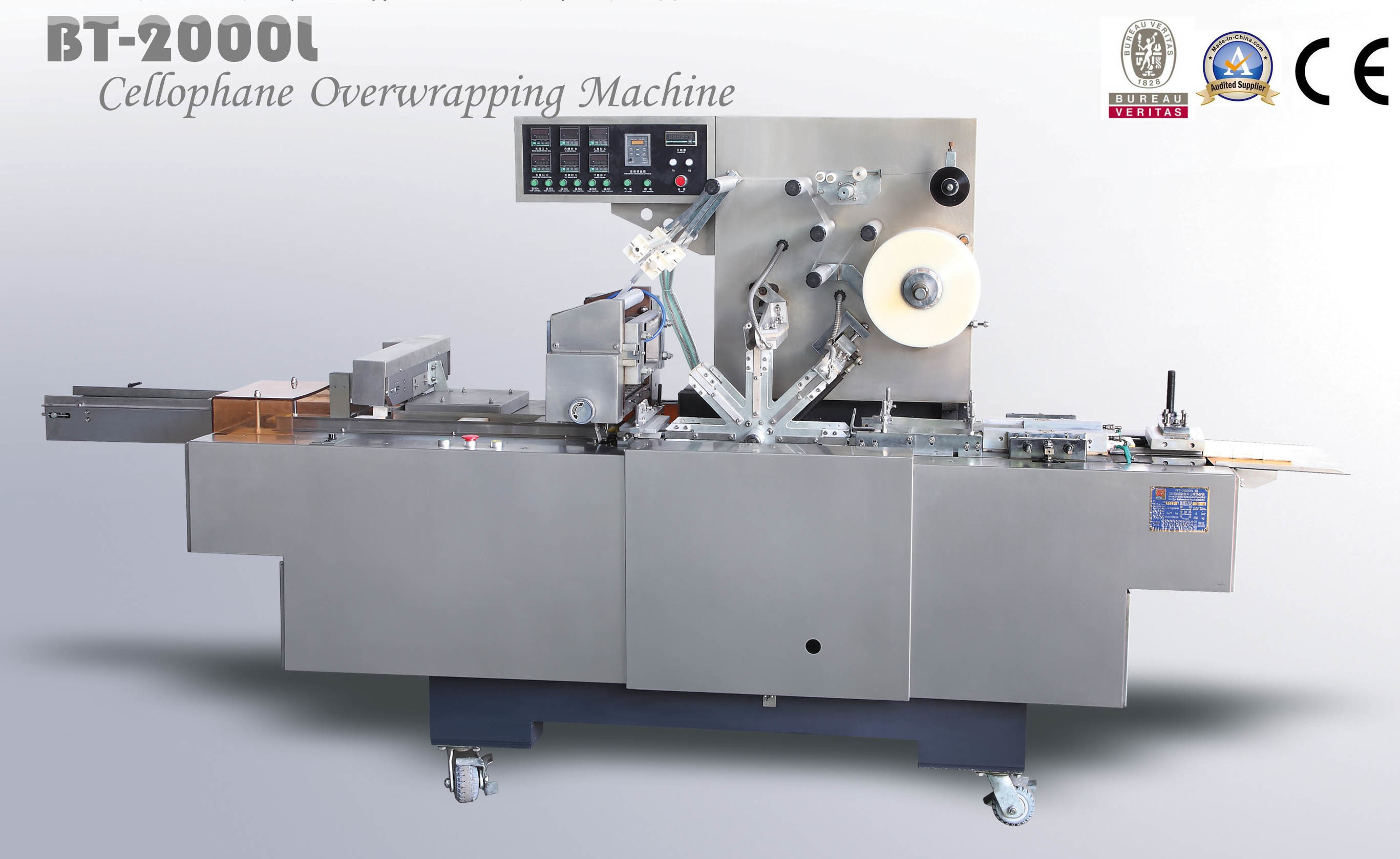 Bt-2000L Automatic Cellophane Film Overwrapping Machine for Production Line