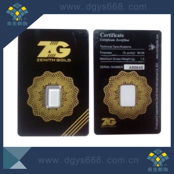 Custom Gold Coin Packaging Card Printing