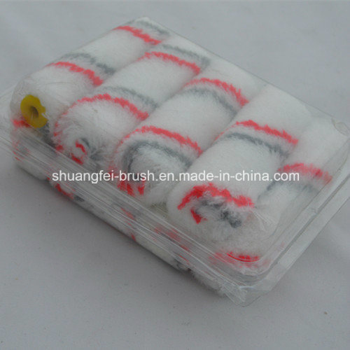 Mini Acrylic Paint Roller (red & grey stripe white base)