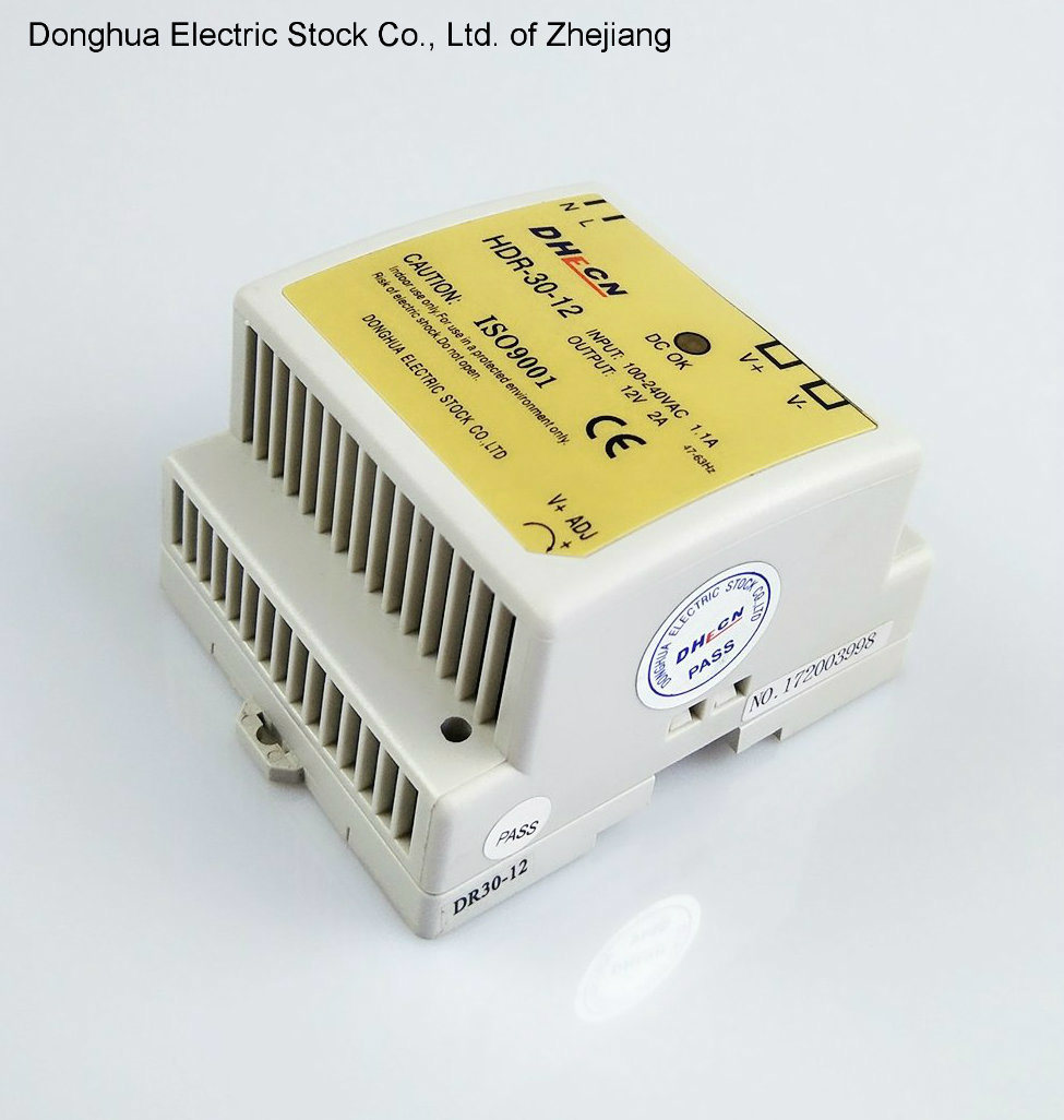 HDR-30 Single Output DIN Rail Type Switching Power Supply Output 88-264VAC to 12VDC 2A