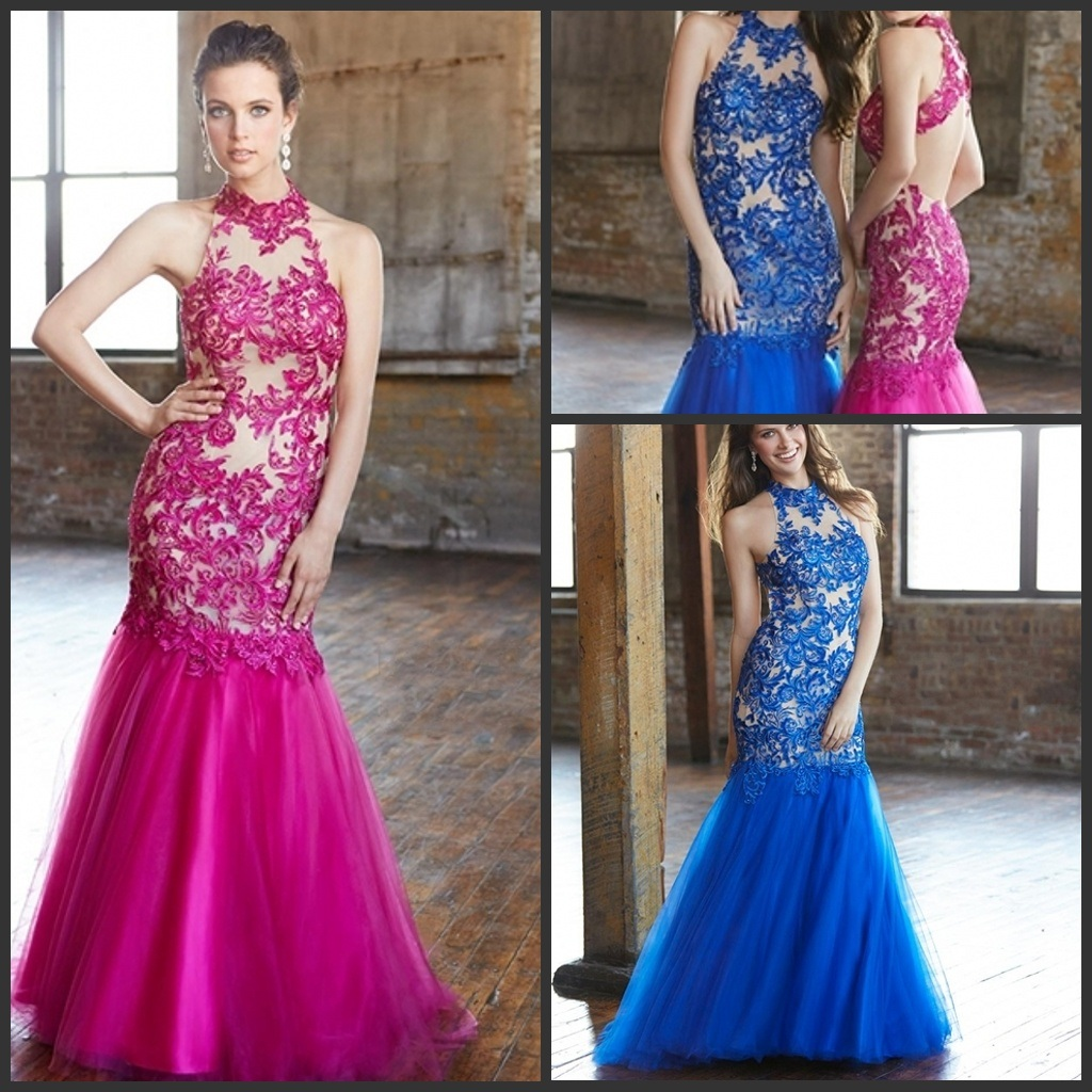 china collar mermaid formal gowns lace blue fuchsia prom dress b21501 photos pictures made. Black Bedroom Furniture Sets. Home Design Ideas