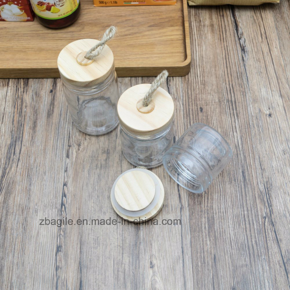 High Quality Nature Wood Lid Clear Storage Glass Jar with SGS Certificates 100026