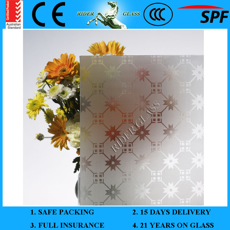 5mm-10mm Am-9 Decorative Acid Etched Frosted 1830*2440mm Art Architectural Glass