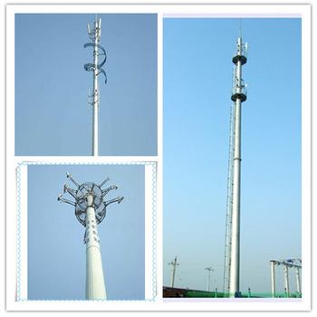 Self Standing Single Pillar Telecom GSM Bts Steel Poles Tower