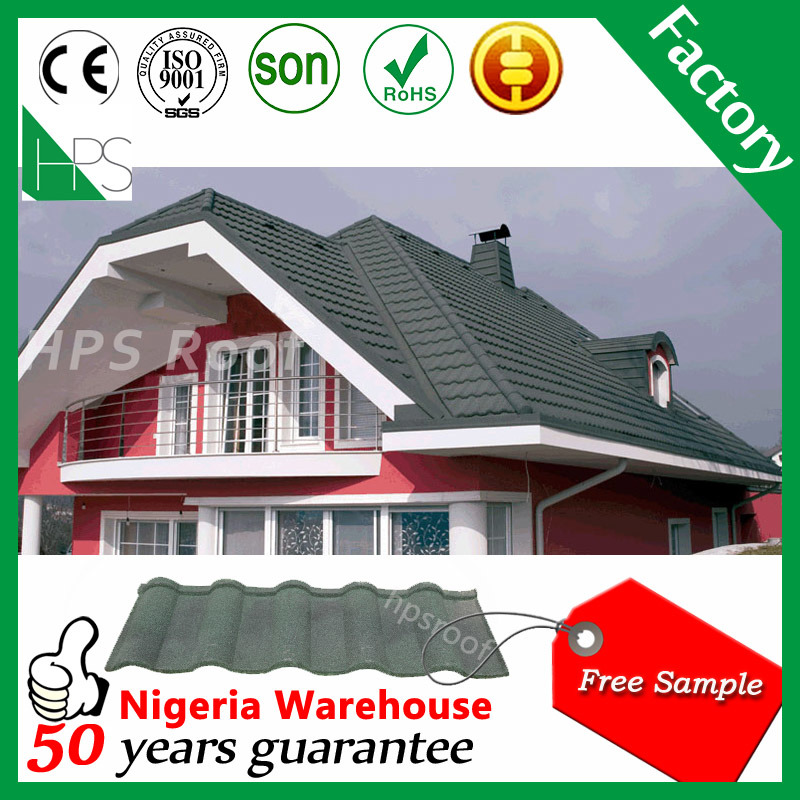 Guangzhou Manufacture Flat Stone Coated Metal Steel Roofing Tile