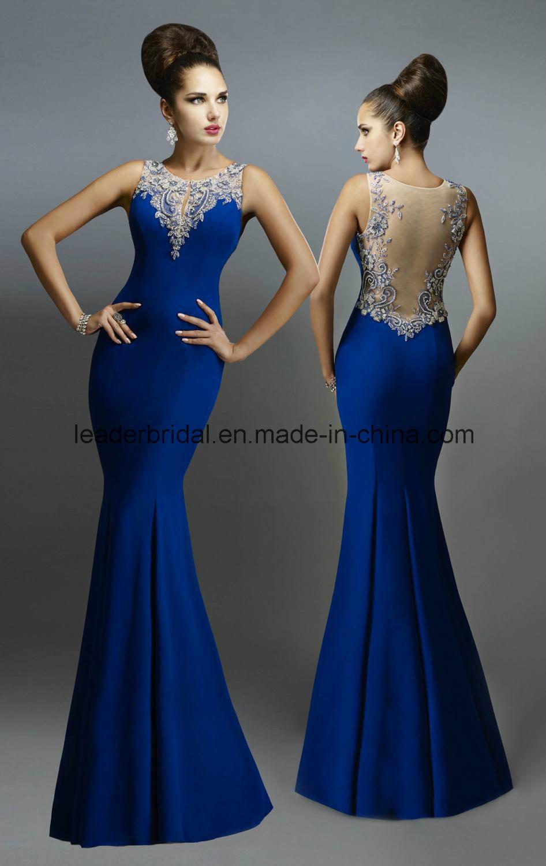 China Royal Blue Formal Gowns Mermaid Sheer Evening Ladies Dresses ...