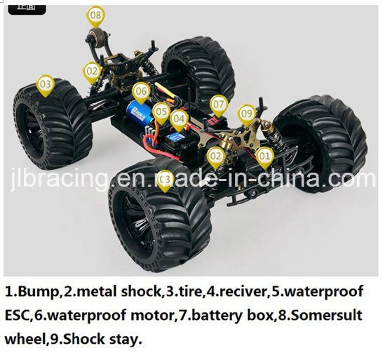 Hot Sale! 3s Battery 2500kv Motor 1/10 Scale Electric Power RC Monster Truck
