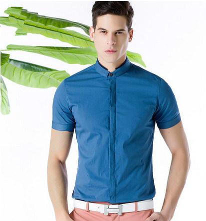 Men′s Blue Slim Fit Cotton Casual Shirt