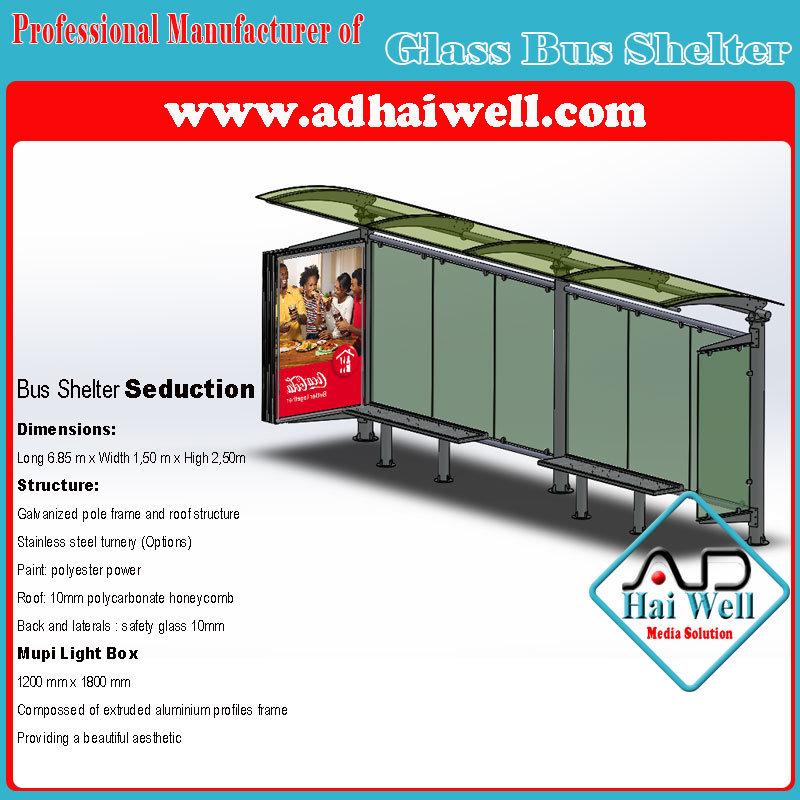 Good Design and Fashion Glass Bus Shelter with Mupi Light Box