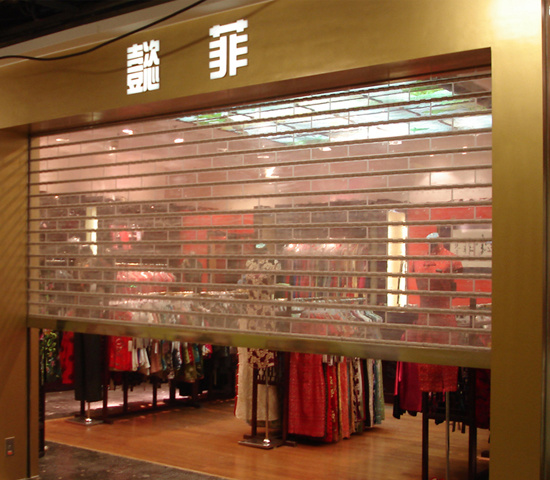 Crystal and Transparent Roller Shop Front Door