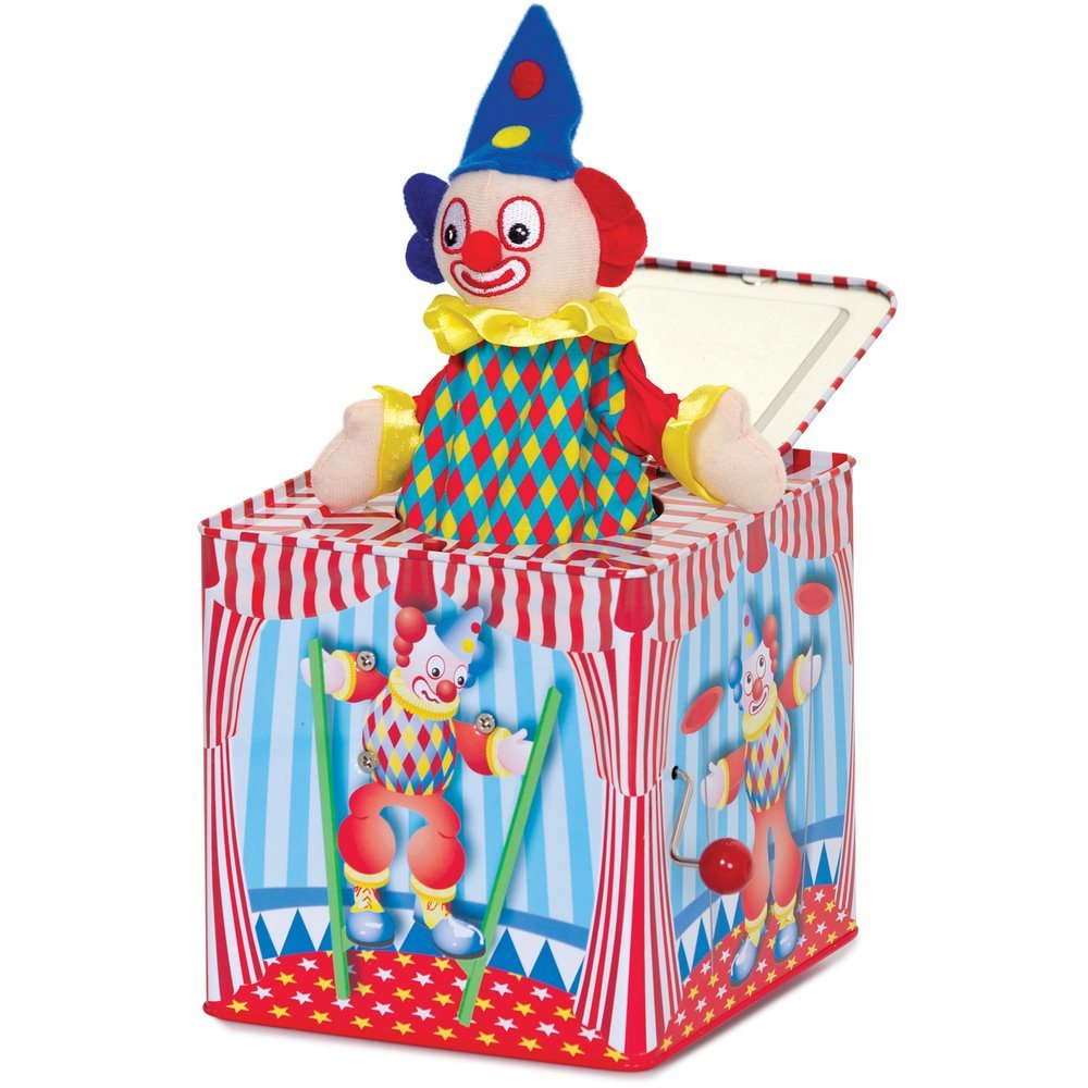 Customized Lovely Cartoon Plush Jack in The Box Music Tin Box