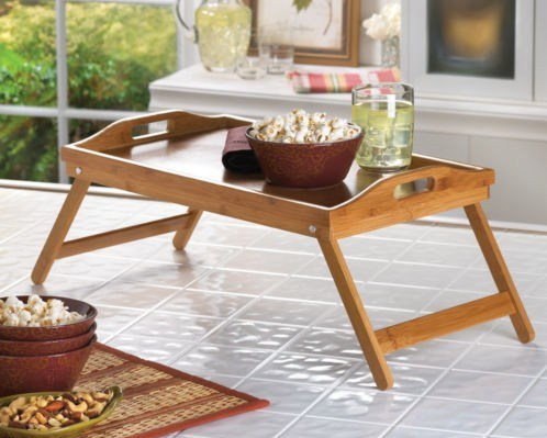 Bamboo Tea Food Coffee Fruit Serving Tray with Foldable Leg Tableware Storage Organizer Hb420
