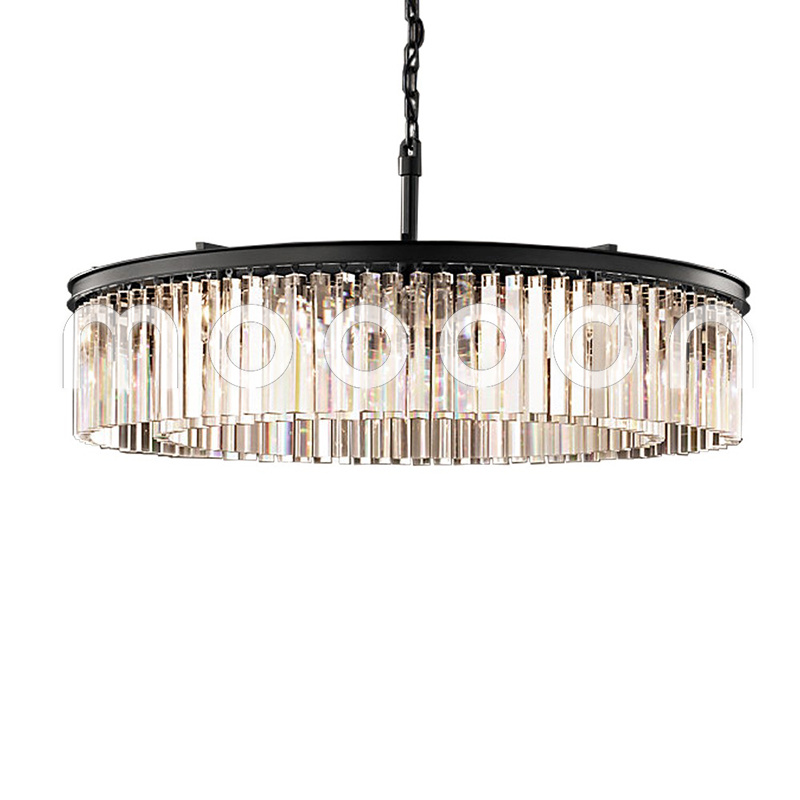 Modern Large Luxury Clear Glass Prism Round Chandelier for Living Room