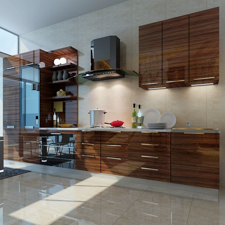 China wood grain high gloss acrylic mdf panel for kitchen for High gloss kitchen cabinets