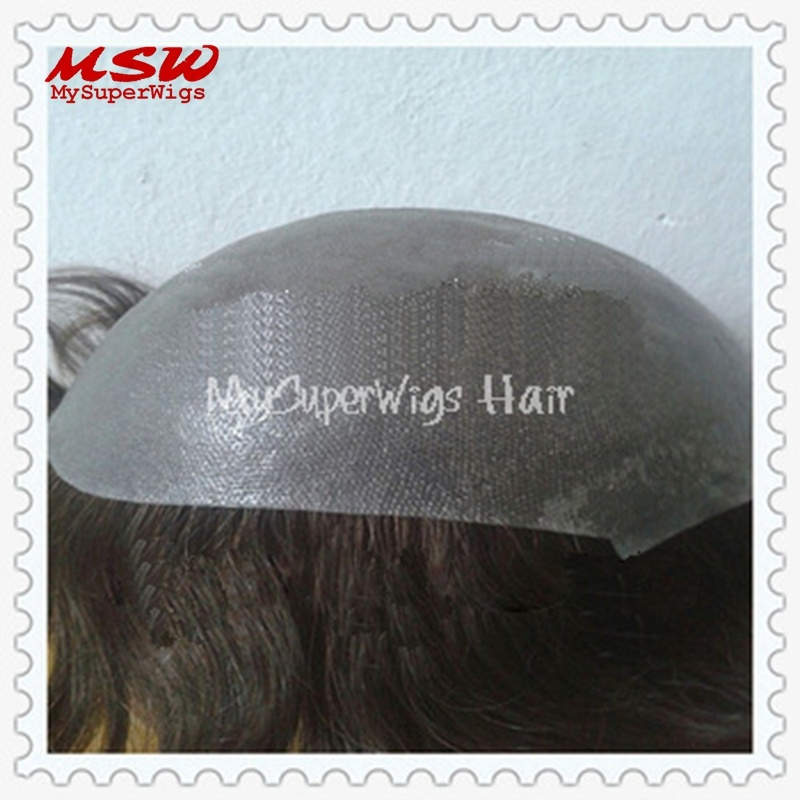 Injection Hair Clear Thin Poly Base Men′s Hairpiece