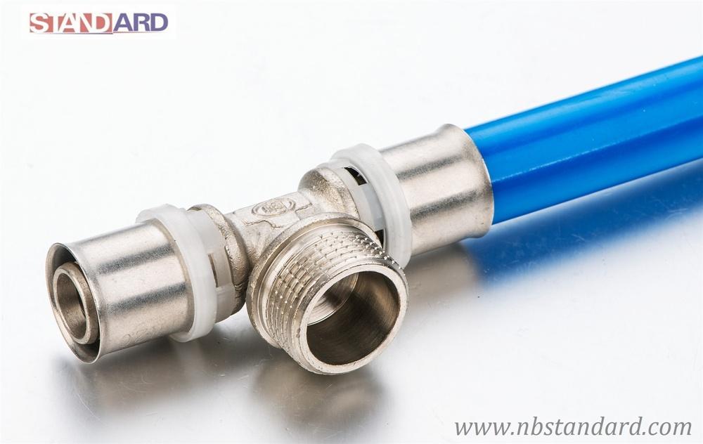 Pex-Al-Pex Pipe Fitting/Brass Male Thread Tee/Press Fitting
