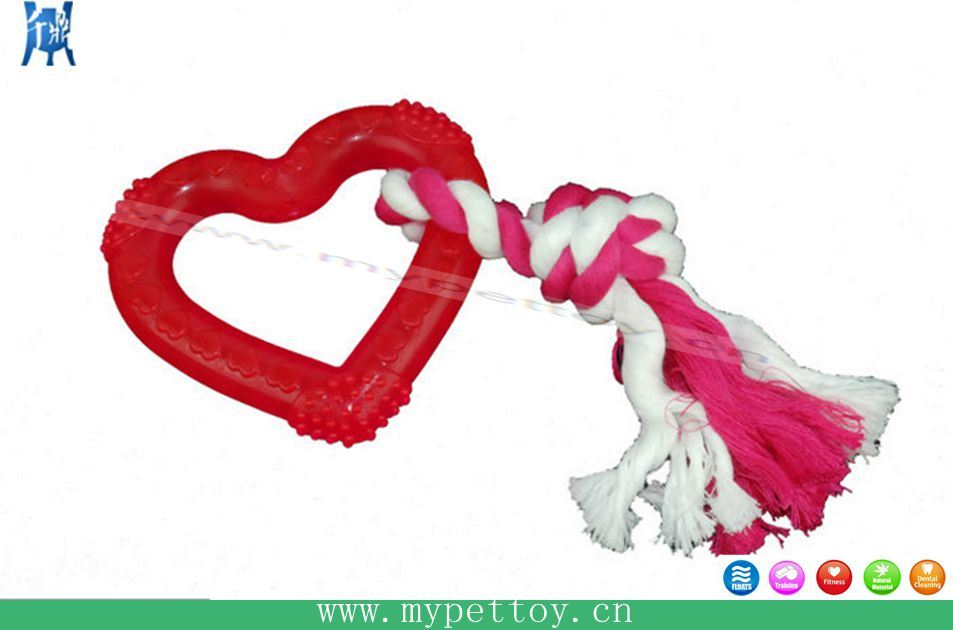 TPR Heart with Rope Dog Toy Pet Product