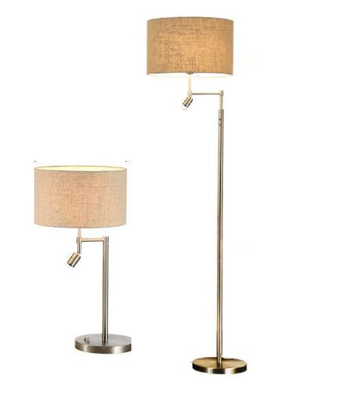 Modern Table and Floor Lamp with Fabric Shade (WH-2216)