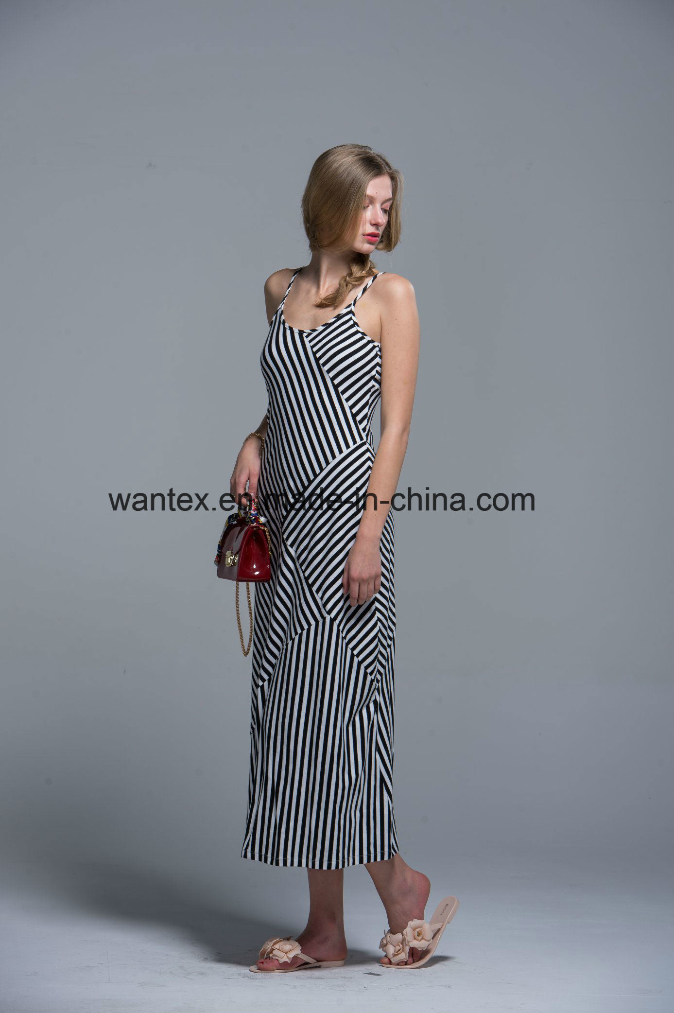 Sling Ladies Long Dress Summer Fashion 100% Cotton Stripe Loose Girl