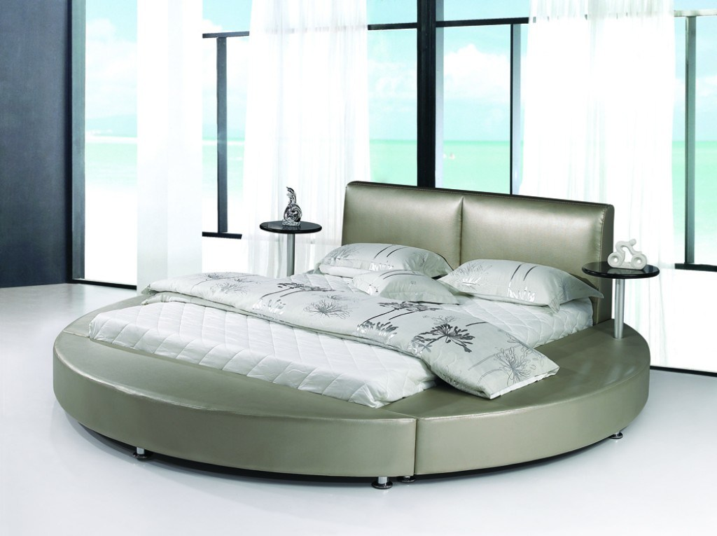 China Round Bed 9113 China Mattress Leather Bed