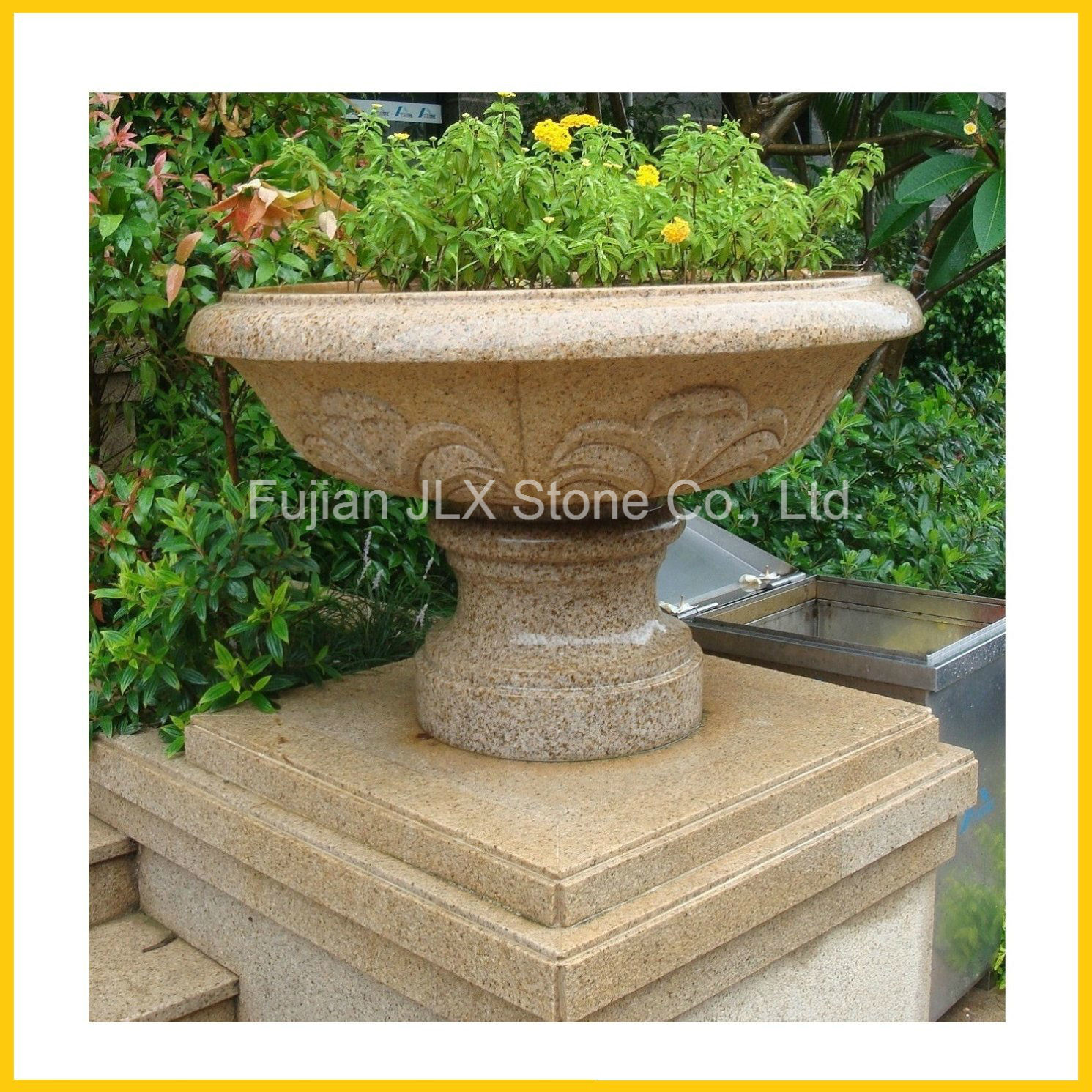 G682 Yellow Granite Stone Garden Flower Pot