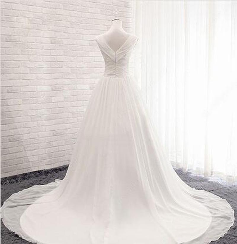 Chiffon V-Neck Ball Gown Court Train with Ruffles Wedding Dress