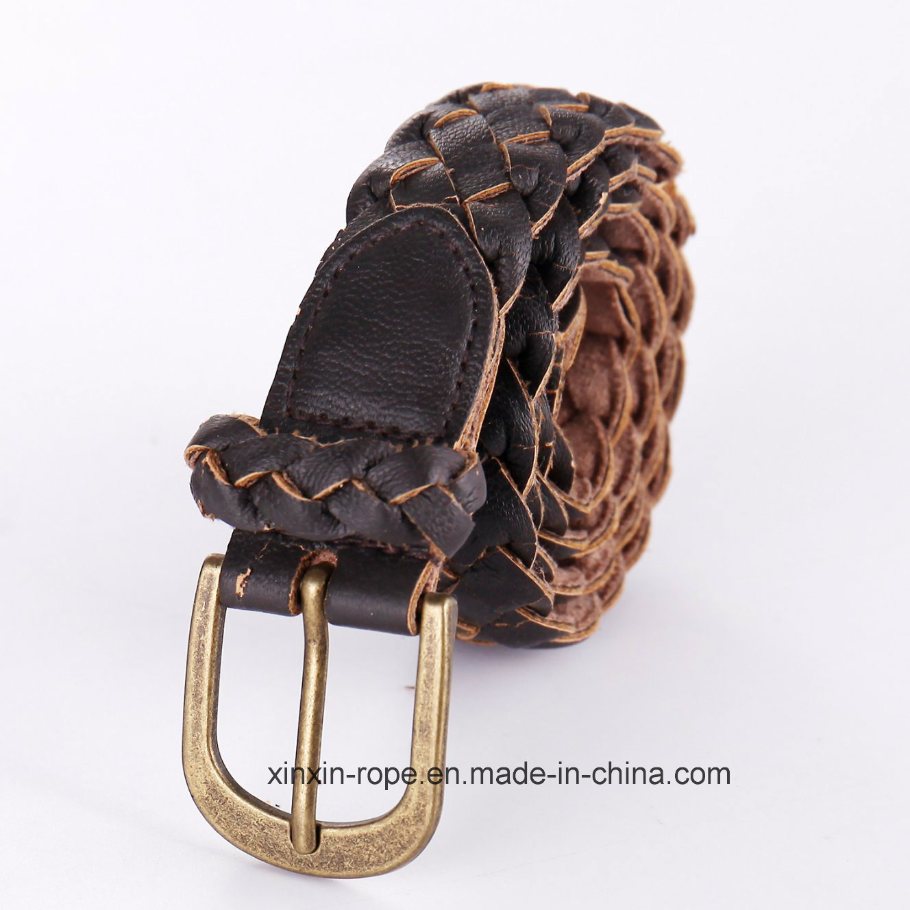 Special Customize Woven PU Leather Pin Buckle Belt for Gift