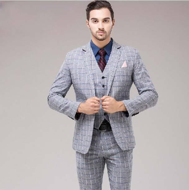 3 Piece Mens Check Business Suit
