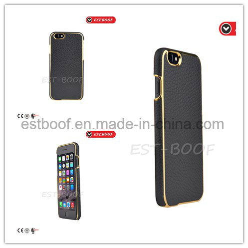 Leather Phone Case with Gold Electroplate Back Cover for iPhone/Samsung