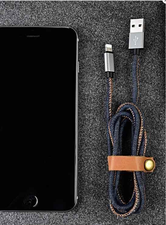 for iPhone Android Type-C Mobile Phone Universal Denim Data Charging Cable