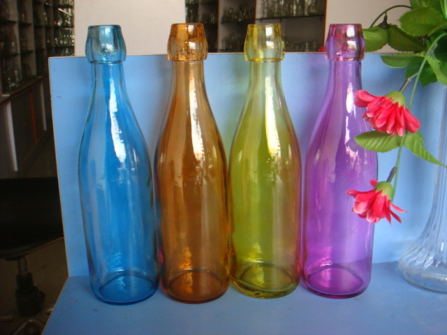 1L Decal Glass Bottles Water Bottle with Bail Wire
