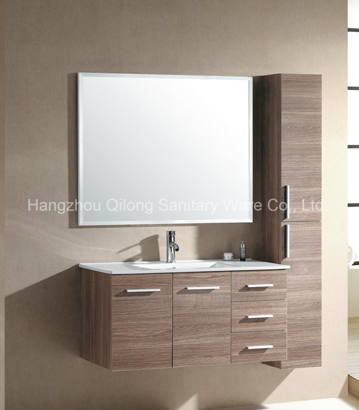 Wood Color MDF Vanity with Side Cabinet in Bathroom