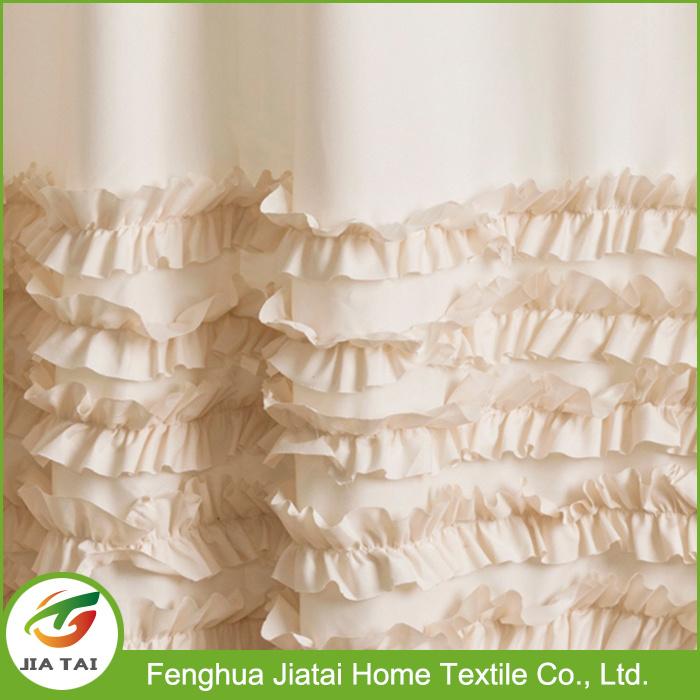 High Quality Polyester Custom Beautiful Ruffle Shower Curtain