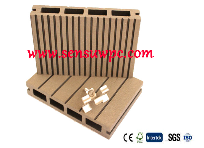 E-Installation WPC Hollow Decking Withaccessories Use in Outdoor