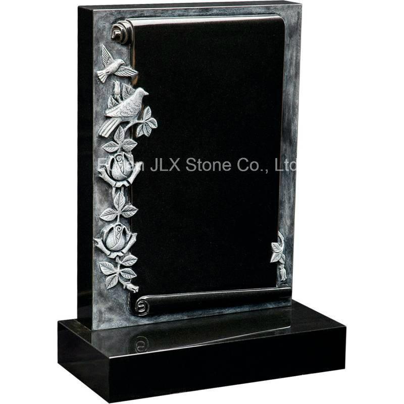 China Black Granite Antique Scroll Book Gravestones with Roses