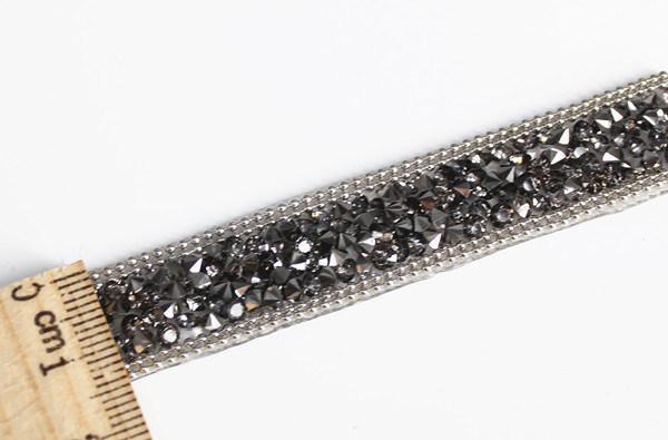 Beaded Rhinestones Trim Chain Iron on Hotfix Crystal Reel Chain (TS-053 black diamond)