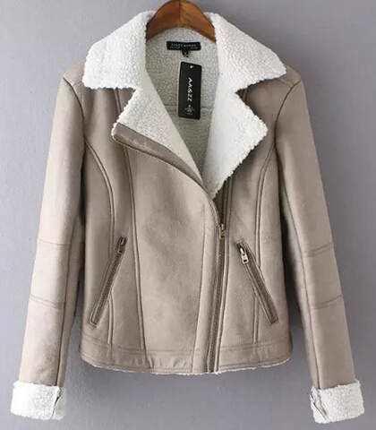 Women′s Faux Suede Lamb Fur Coat