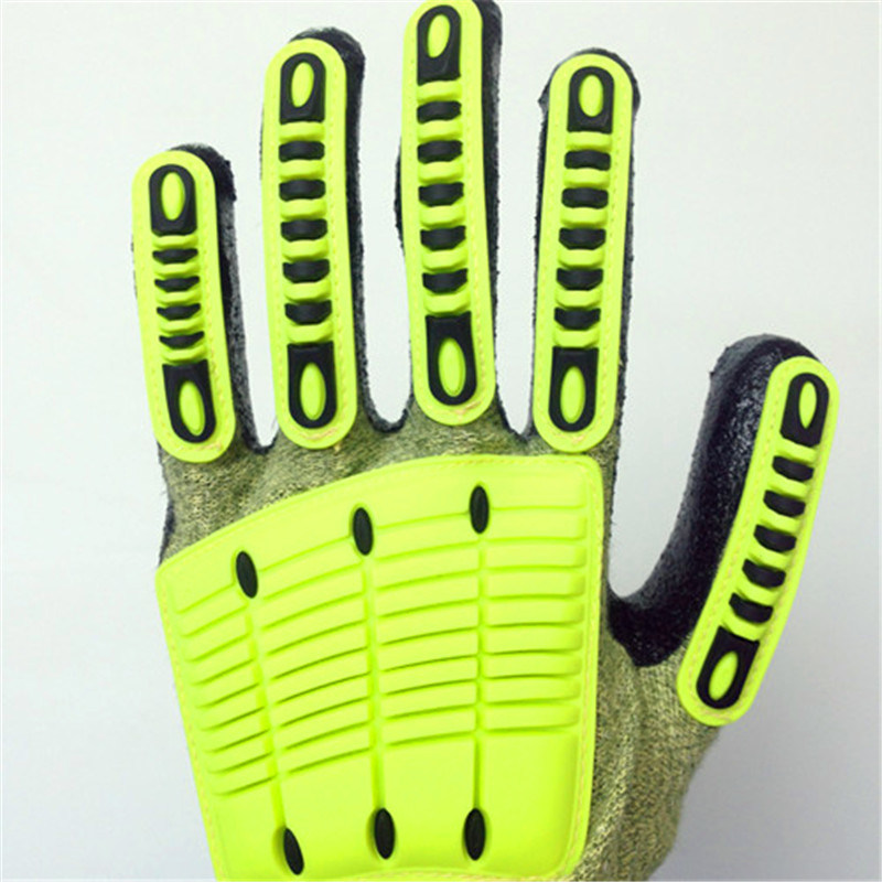 Fake Foam Nitrile Coated Kevlarglass Fiber Safety Gloves with TPR Sewing