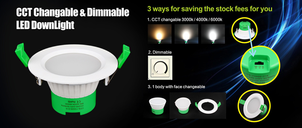 LED Round Downlight 9W Ceiling Lamp Dimmable 3000k-6500k