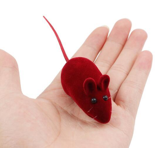 Flocked Squeaky Small Mouse Cat Toy (KB3001)
