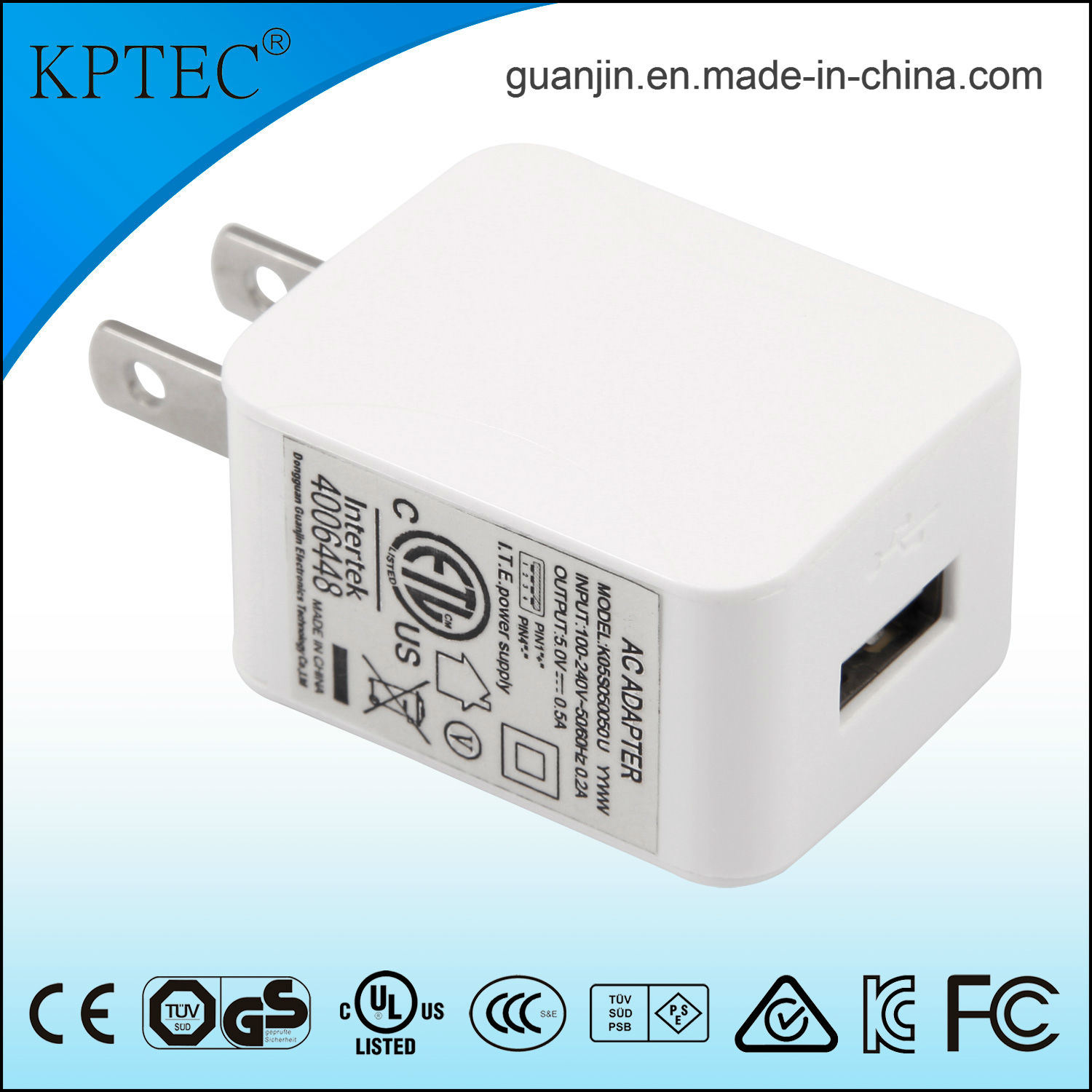 5V 1A Us Plug AC Adapter with ETL and UL Certificcate