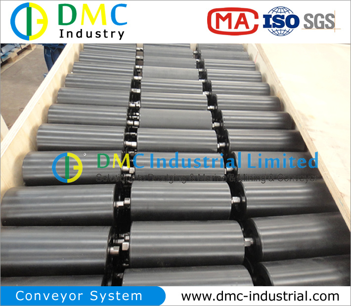 159mm Diameter Conveyor System HDPE Conveyor Idler Black Conveyor Rollers