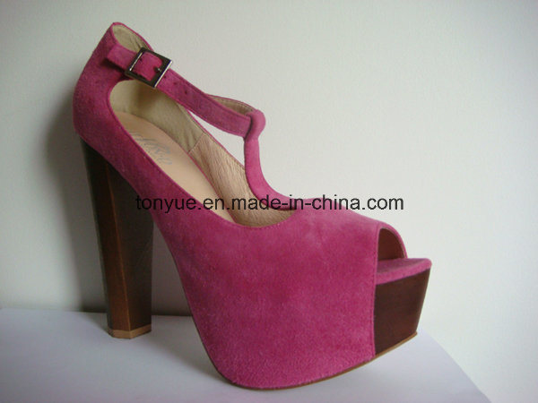 Lady Leather Thick Heel Wooden with Thick Platform Sandals