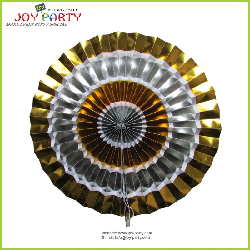 """16"""" Gold and Silver Hanging Honeycombs Paper Fan"""
