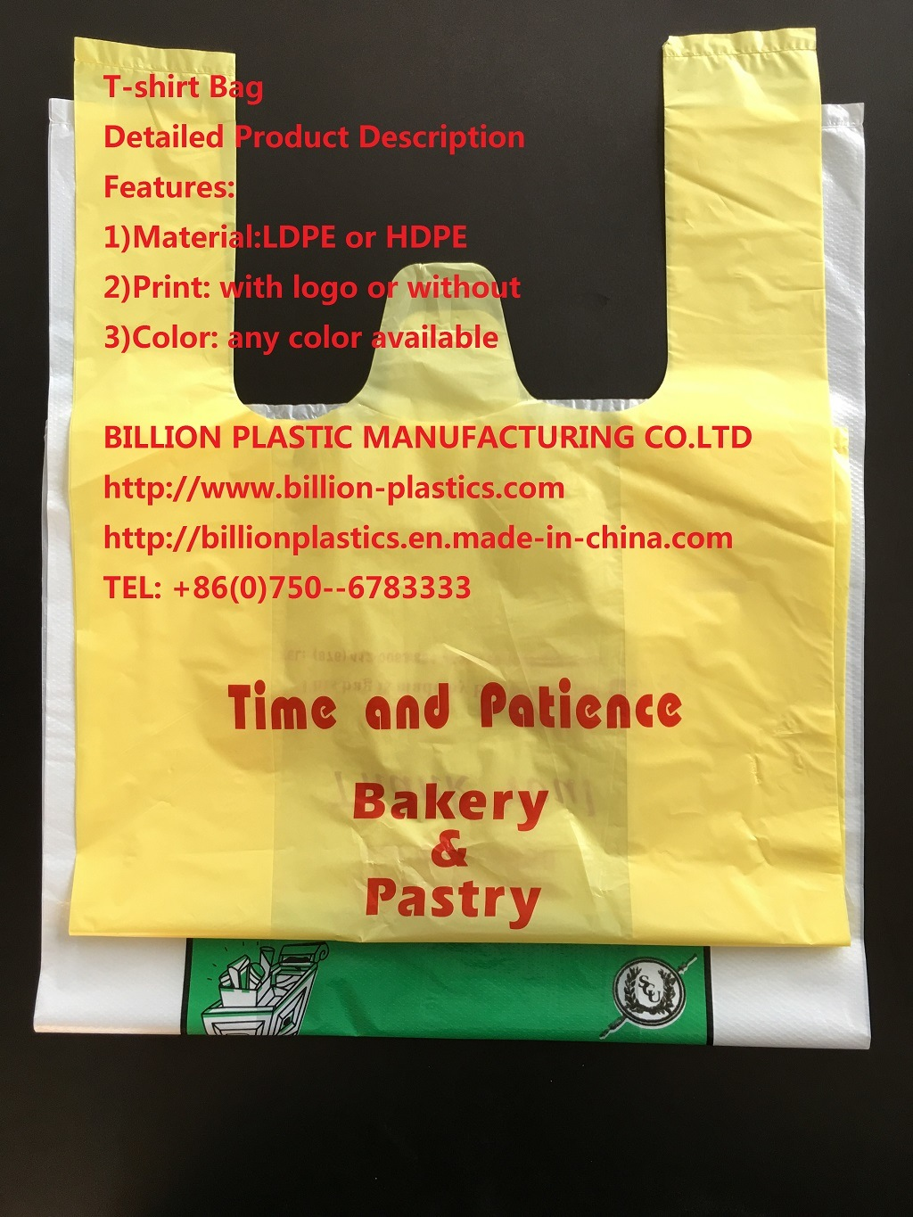 HDPE Plastic Shopping Bag T-Shirt Bag with Printing