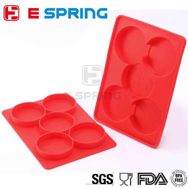 Hamburger Cooking Tools Round Silicone Burger Press Container with 5 Circular Divisions