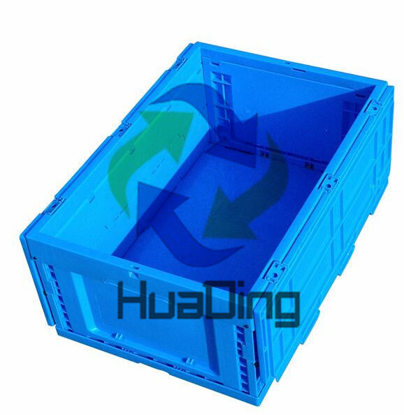600*400*320mm Collapsible Solid Closed Plastic Container Crate