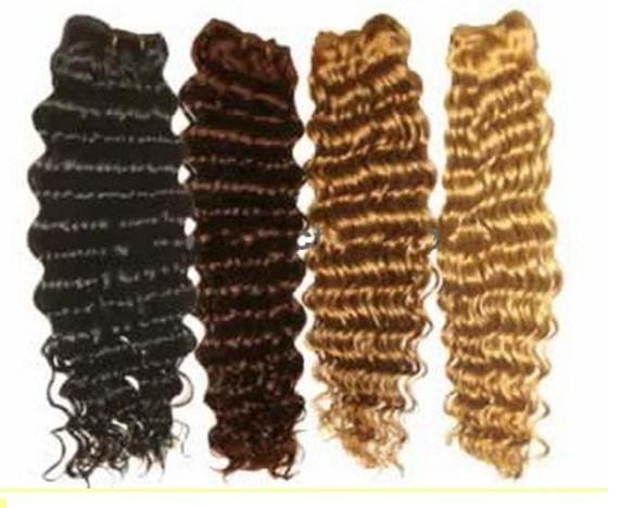 Deep wave brazilian hair machine weft
