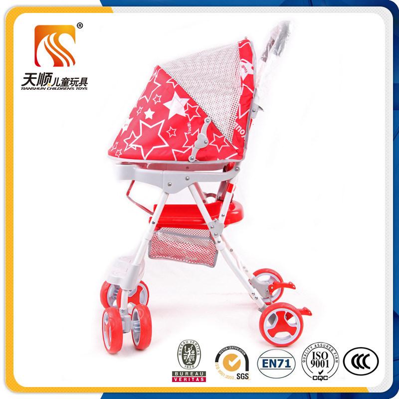 Lightweight Plastic Seat Red Baby Stroller with 6 EVA Wheels