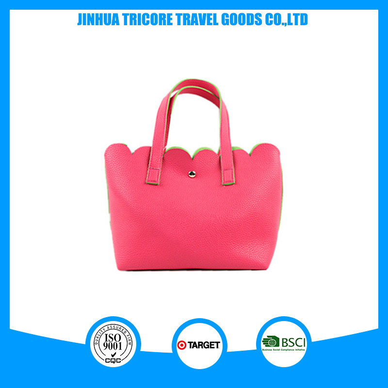 Popular and Hot Sale Lichee Pattern PU Material Tote or Handbag